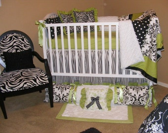 Beautiful Baby Bedding Lime Green Hot Pink Damask Polka Dot Black and White