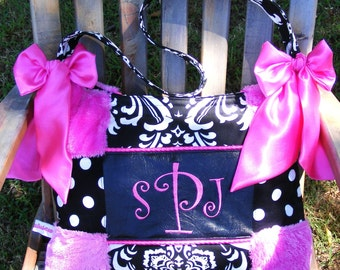 Diaper Bag Hot Pink Fur Black n White Polka Dot n Damask Hot Pink Bows Gorgeous