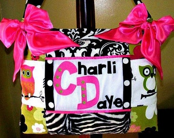 LARGE Diaper Bag OWL fabric Hot Pink Lime Green Black and white Zebra Damask and Polka dots