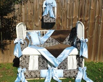 Light Blue n chocolate Brown Minky Satin Baby Boy Bedding Premier Over stuffed bumpers Bows