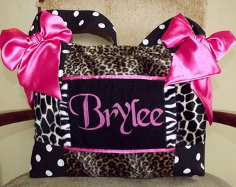 Exotic Leopard Fur Zebra Fur and Giraffe Fur Diaper Bag Hot Pink Satin Bows Black and White Polka Dot
