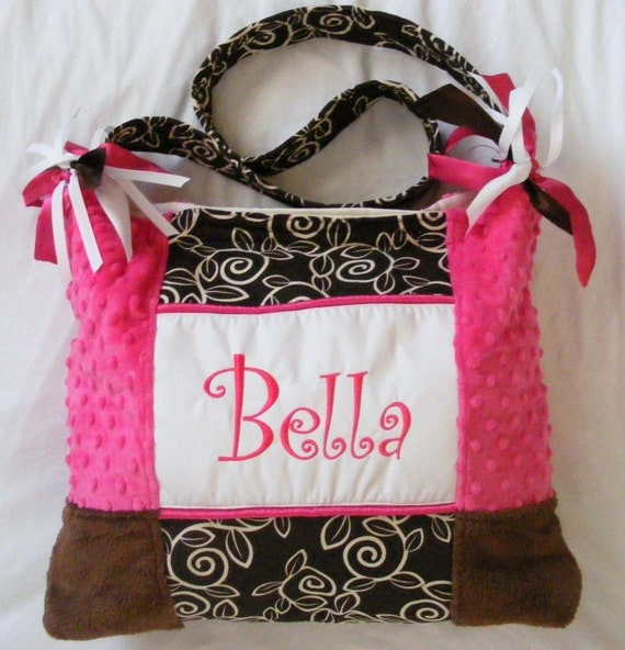 Hot Pink Chocolate Brown White Large Baby Diaper Bags or Bag Monogrammed
