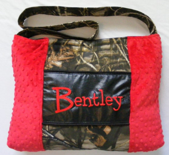 camouflage baby boy diaper bag red or blue minky dot free. Black Bedroom Furniture Sets. Home Design Ideas