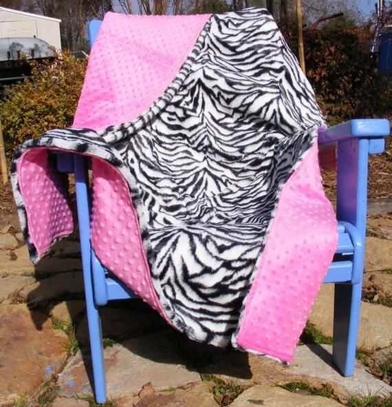 Hot Pink Minky Dot n Black and white Soft plush Zebra Fur Blanket Extremely Soft