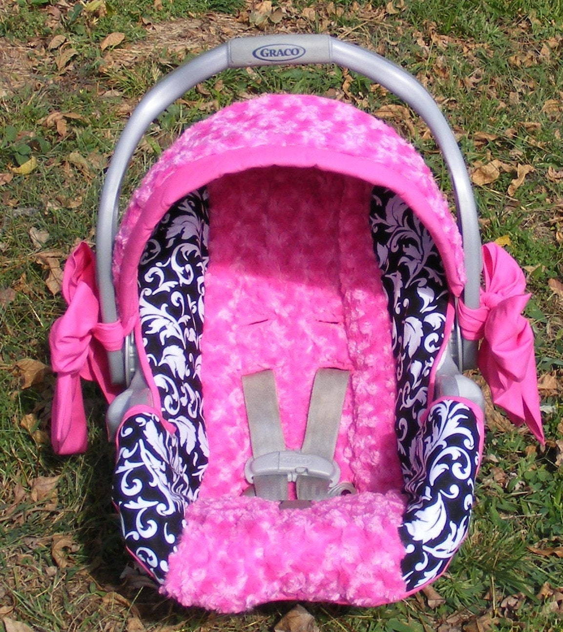 Reupholstered Infant Car Seat Cover Baby Girl Hot Pink Rose