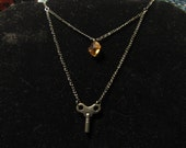 Key to a Lost Room - Double-Chain Gunmetal Winding Key and Crystal Necklace