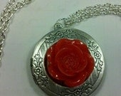 Alistair's Rose Locket Pendant in Antiqued Silver