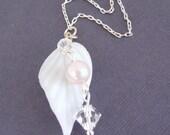 White Glass Leaf Swarovski Crystal Necklace