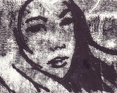 Geisha Girl:  5x7 original monoprint  --Free Domestic Shipping--