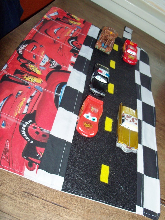 Lightning Mcqueen Car Caddy Roll up Tote with Road