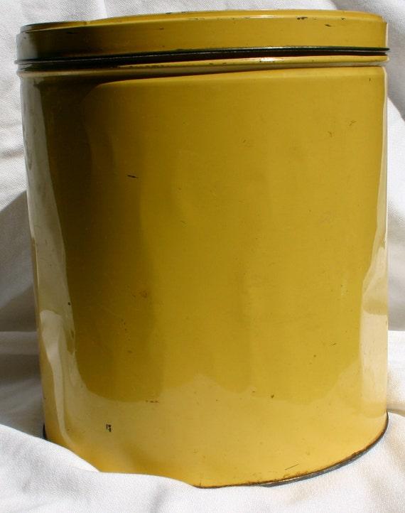 Vintage Large Yellow Tin