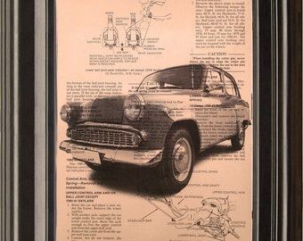 Dictionary Art Vintage Car Recycled book art print illustration old car upsycle,for him under 10 gift for dad,boyfriend,brother