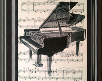 Dictionary Art Vintage Piano Recycled book print illustration sheet music instrument for him her musician under 25 gifts for dad band notes