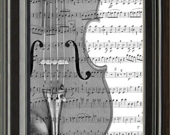 Dictionary Art Vintage Violin Recycled book print illustration sheet music instrument for him her musician under 25 gifts for dad band notes