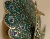 Vintage Green Blue Enamel Sterling Peacock Pin Brooch - Free USA Shipping