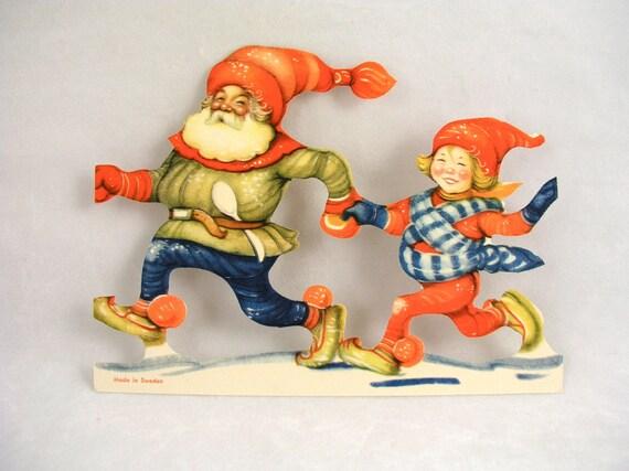 Vintage Sweden Die Cut Winter Christmas Santa & Girl - Free USA Shipping