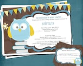 Baby Owl Stock the Library Shower Invitation. Coordinating DIY Book Plate Design Included by Tipsy Graphics