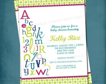 ABC 123 Colorful Alphabet Baby Shower Invitation.  Great for Triplets and/or Gender Neutral. Any colors and text by Tipsy Graphics