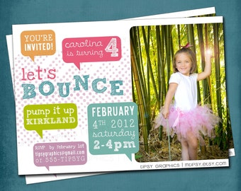 Let's Bounce. Sorbet Blocks Birthday Party Invitation by Tipsy Graphics. Any colors and text, photo otpional