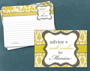 Big Damask Vintage Advice & Well Wish Cards for Graduate / MOM / BRIDE to Be. by Tipsy Graphics.  Printable Cards Any Colors