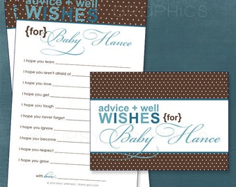 Blue Aqua Teal & Brown Polka Dots. Sweet Well Wishes for the NEW BABY. By Tipsy Graphics. Printable Cards
