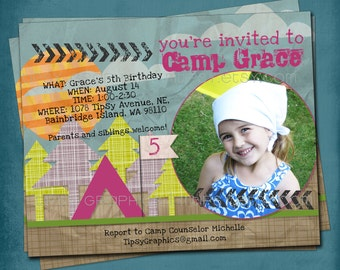 Girly Camping Printable Birthday Party Invite by Tipsy Graphics