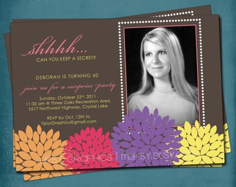 Shhh. Can You Keep a Secret.  Dahlias Modern Surprise Party Invite, any text or colors by Tipsy Graphics. Photo Optional