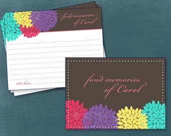 Dahlia Mums Floral. Fond Memories Advice & Well Wish Cards. Printable Cards by Tipsy Graphics. Any Colors