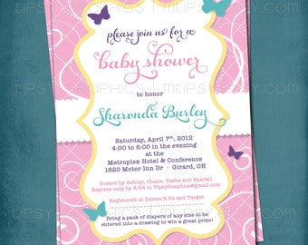 Butterfly. Pretty Pink Yellow Aqua Baby Shower or Party Invite by Tipsy Graphics