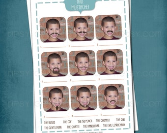 Name that MUSTACHE - Stache Bash PARTY GAME  Customized with Your Funny Photo(s) - Celebrate Mustaches and Lip Sweaters by Tipsy Graphics