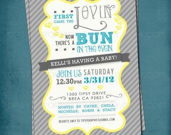 First Came the Lovin. Bun in the Oven Baby Shower Invite. Gender Neutral Yellow & Gray by Tipsy Graphics. Any colors and text.