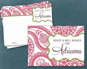Pink Paisley and Mums. Pretty Advice & Well Wish Cards for Graduate / Mom / Bride to Be. by Tipsy Graphics.  Printable Cards, Any Colors