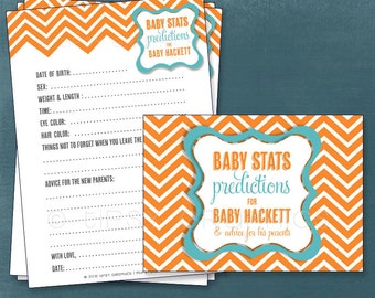 Chevron. Baby Stats. Predictions for Baby and Advice for the Parents to Be.   Printable Cards, any Colors. By Tipsy Graphics