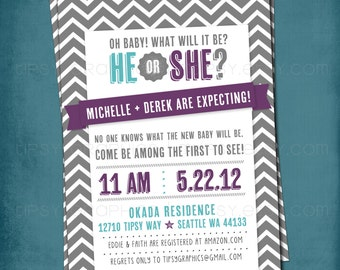 He or She. Chevron Gender Reveal Gender Neutral Baby Shower Invitation.  Any text and colors by Tipsy Graphics