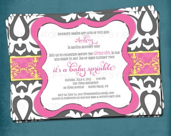 Big Damask Pink Gray Yellow Baby / Bridal Shower Invitation.  Any text and colors by Tipsy Graphics