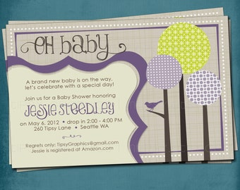 Bird on a Branch. Modern Forest Baby Shower Invite by Tipsy Graphics. Any colors and text.