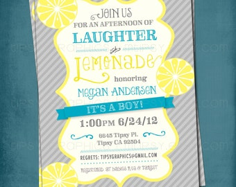 Lemonade and Laughter Baby or Bridal Shower Invite. By Tipsy Graphics
