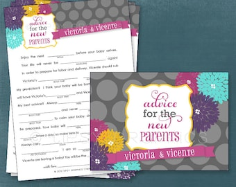 Floral Polka Dot.  MAD LIB MadLib Adlib Printable Cards, any Colors. By Tipsy Graphics