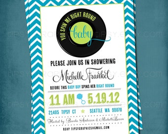 Modern Chevron. Spin Me Right Round Baby Shower or Party Invite by Tipsy Graphics