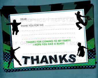 Fill-In Thank You Note. JUMP Trampoline or Bounce House Birthday Party Thank You by Tipsy Graphics. Girl or Boy version