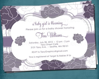 Roses Shabby Chic Baby / Bridal Shower Invitation.  Customized for your Baby or Bridal Shower by Tipsy Graphics