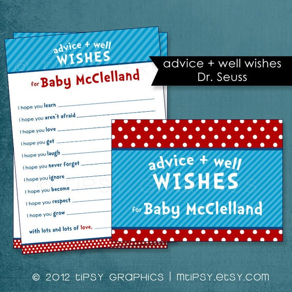 Dr. Seuss Sweet I Hope Well Wishes for the NEW BABY.  By Tipsy Graphics. Printable Cards