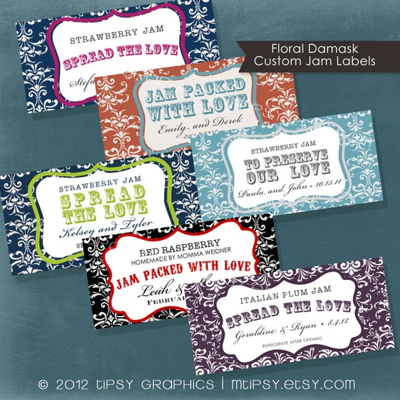 Floral Damask Spread the Love Jam Packed with Love.  Label Design Printable file. Any colors by Tipsy Graphics