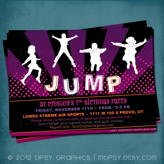 Girly Pink & Purple JUMP Trampoline or Bounce House Birthday Party Invite by Tipsy Graphics