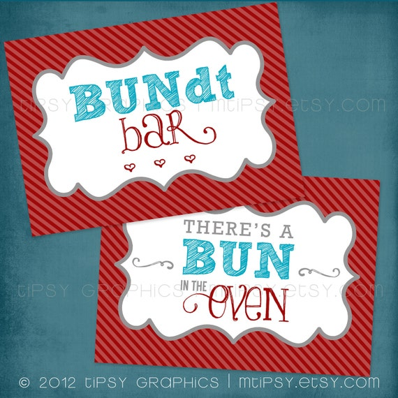 Bun in the Oven Party Signs. Printable DIY Party Signs by Tipsy Graphics