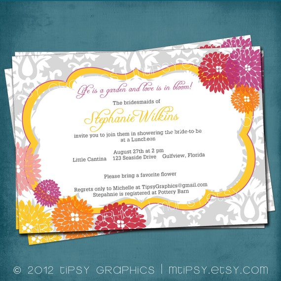 Love is in Bloom Floral Damask Shower Invite by Tipsy Graphics. Any colors and text.