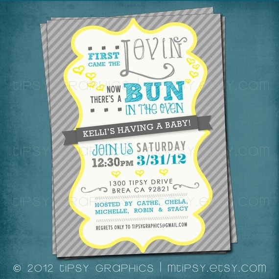 first came the lovin bun in the oven baby shower invite gender