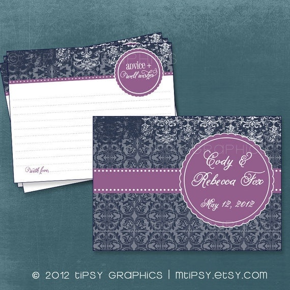 Damask Scallop Advice & Well Wish Cards for Graduation / Mom / Bride.  Printable Cards by Tipsy Graphics. Any Colors