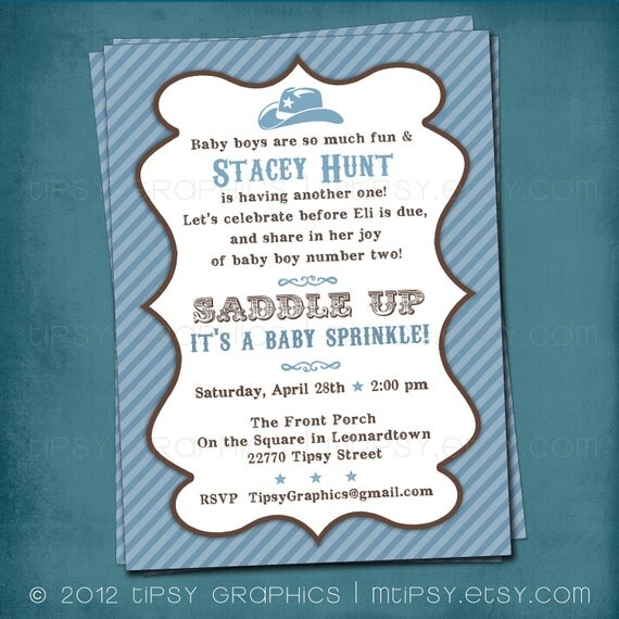 Saddle Up. Little Cowboy Vintage Party. Shower. Sprinkle Invite by Tipsy Graphics. Any colors