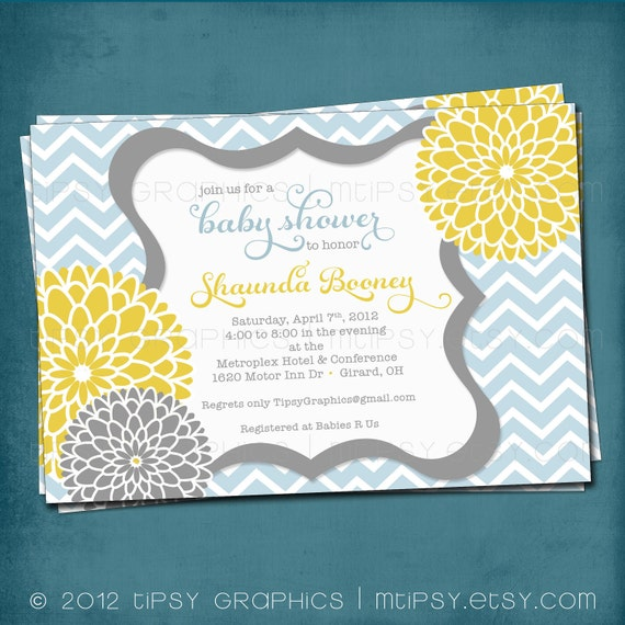 Chevron Mums Baby / Bridal Shower Invite. Baby Blue Yellow Mustard Gray.  Gender Neutral. Baby Boy. Spa Pom Pom. DiY Printable